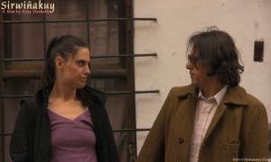 Veronica Paintoux is Anouk and Jac Avila is Luis in Sirwinakuy